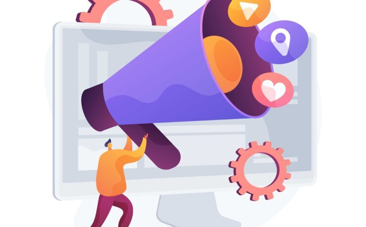 Online marketing abstract concept vector illustration.